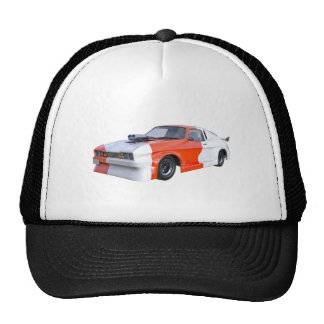 2016 Orange and White Muscle Car Trucker Hat