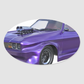 2016 Purple Muscle Car Oval Sticker