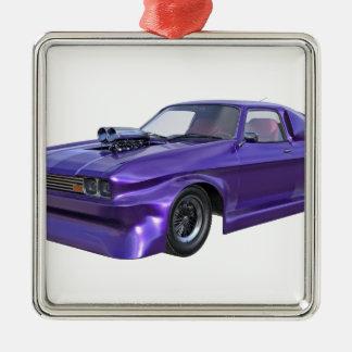 2016 Purple Muscle Car Silver-Colored Square Ornament