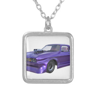 2016 Purple Muscle Car Silver Plated Necklace
