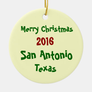2016 San Antonio Texas MERRY CHRISTMAS ORNAMENT
