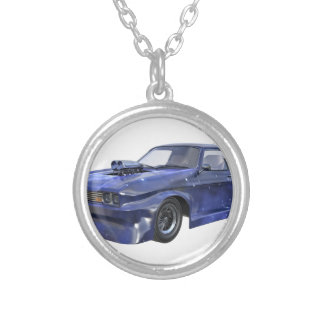 2016 Star Blue Muscle Car Silver Plated Necklace