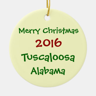 2016 TUSCALOOSA ALABAMA MERRY CHRISTMAS ORNAMENT