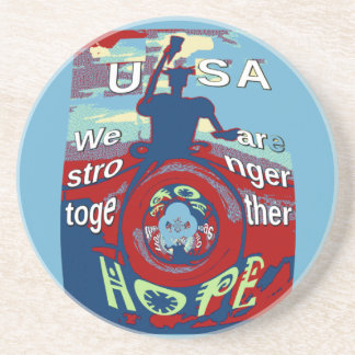 2016 USA Have a Nice Day Hillary Stronger Together Beverage Coasters