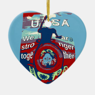 2016 USA Have a Nice Day Hillary Stronger Together Ceramic Heart Ornament