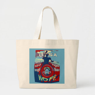 2016 USA Have a Nice Day Hillary Stronger Together Large Tote Bag