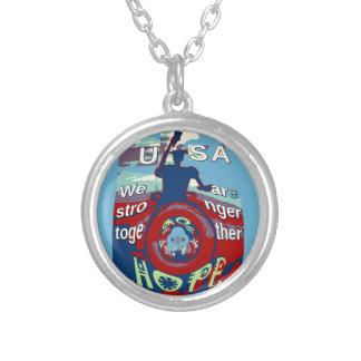 2016 USA Have a Nice Day Hillary Stronger Together Silver Plated Necklace