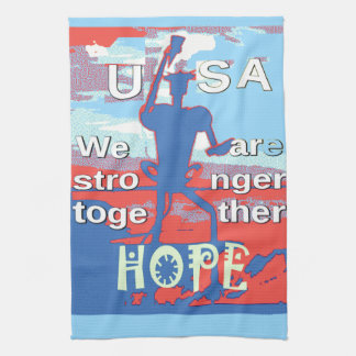 2016 USA Lovely Hillary Blue We Are Stronger Toget Kitchen Towels