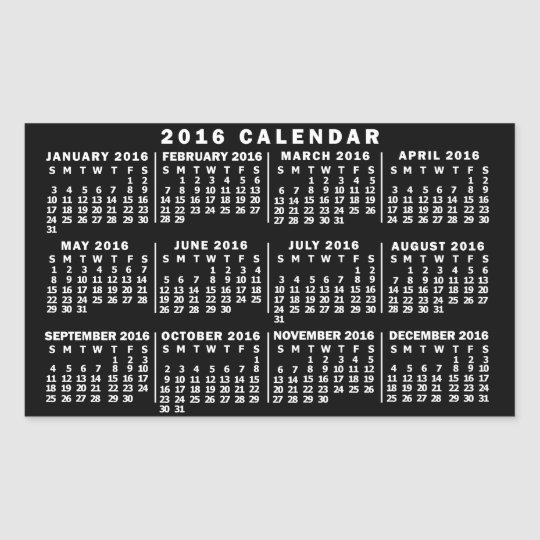 2016 Year Monthly Calendar Classic Black and White Sticker