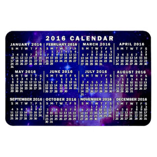 2016 Year Monthly Calendar Outer Space Nebula Rectangular Photo Magnet