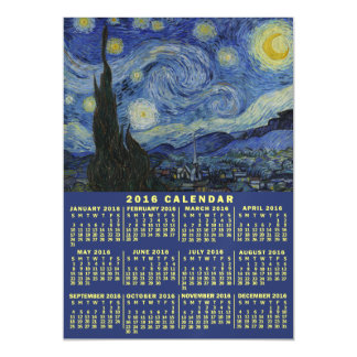 2016 Year Monthly Calendar Starry Night Van Gogh Magnetic Invitations