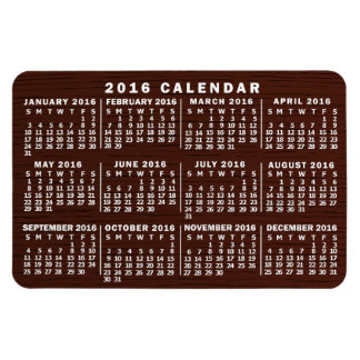 2016 Year Monthly Calendar with Brown Wood Grain Magnet