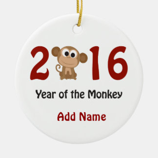 2016 Year of the Monkey Ceramic Ornament