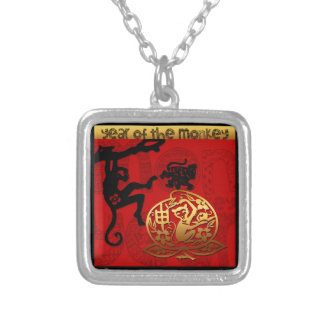 2016 Year of The Monkey Chinese New Year Silver Plated Necklace