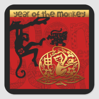 2016 Year of The Monkey Chinese New Year Square Sticker