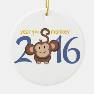 2016 Year of the Monkey Round Ceramic Ornament