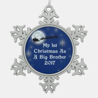 2017 1st Christmas As A Big Brother Snowflake Pewter Christmas Ornament