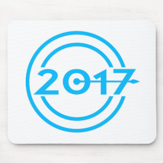 2017 Blue Date Clock Mouse Pad