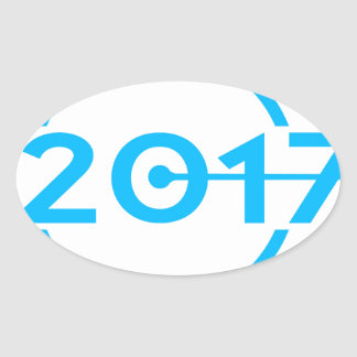 2017 Blue Date Clock Oval Sticker