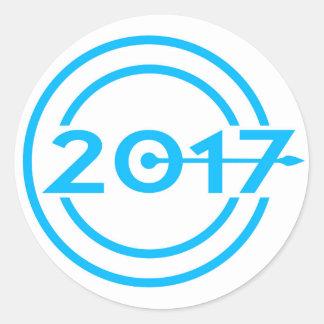 2017 Blue Date Clock Round Sticker