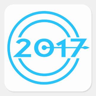 2017 Blue Date Clock Square Sticker