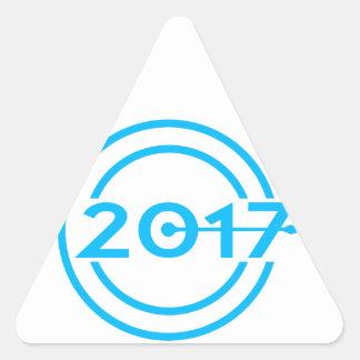 2017 Blue Date Clock Triangle Sticker