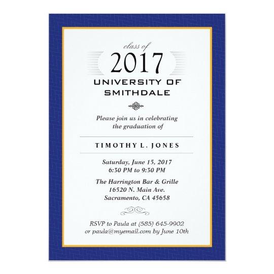 2017 Blue & Gold Formal Graduation Party Invite