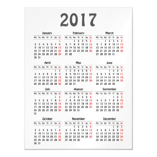 2017 calendar template magnetic card
