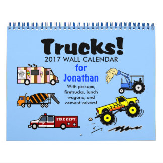 2017 Cartoon Trucks Calendar Personalized Name