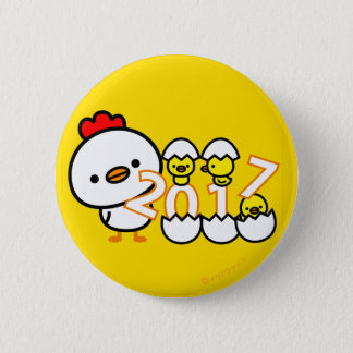 2017 chicken New year button