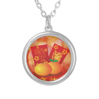 2017 Chinese New Year Rooster Red Packet Silver Plated Necklace