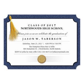 2017 Diploma Blue & Gold Tassel Graduation Invite