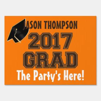 2017 Grad, Orange-Brown-Custom Yard Sign, Med. Sign