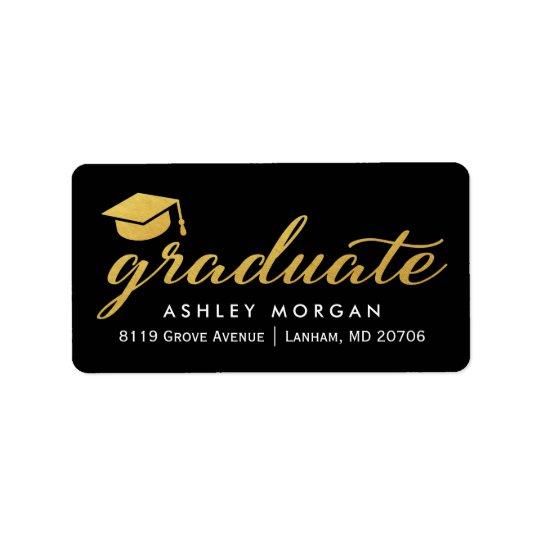 2017 Graduate Gold Calligraphy Script Graduation Label