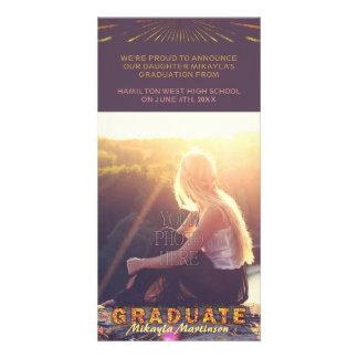 2017 Graduation Boho Chic Purple Sunshine Colors Photo Card