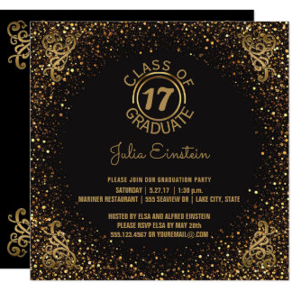 2017 Graduation Party | Black Elegant Gold Glitter Card
