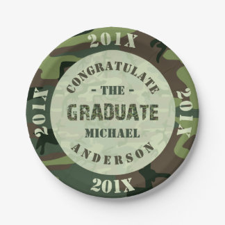 2017 Graduation Party Camouflage Custom Camo Paper Plate