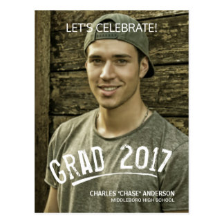 2017 Graduation Party Painted Grunge Photo Overlay Postcard