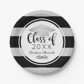 2017 Graduation Plates | Silver Grad Cap