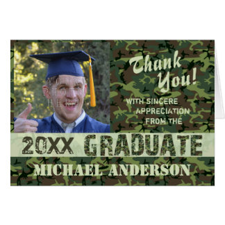 2017 Graduation Thank You Camouflage Photo Custom Card