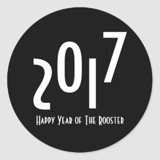 2017 Happy Chinese New Year of The Rooster Round Sticker