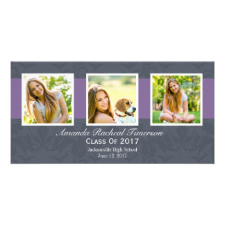 2017 Multi Photo Chic Purple Slate Graduation Photo Greeting Card