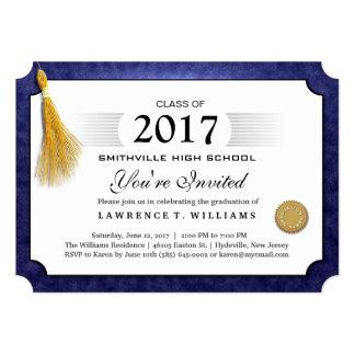 2017 Navy Blue Diploma Gold Tassel Graduation Card