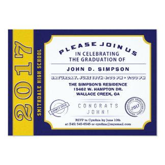 2017 Navy Blue & Gold Ticket Graduation Invitation
