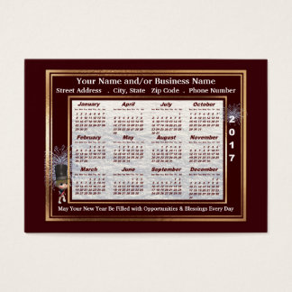 2017 New Year Greetings Business Card Calendar