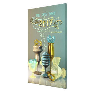 2017 New Year Stylish Gold Turquoise Party Glasses Canvas Print