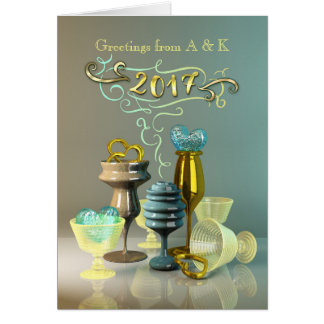 2017 New Year Stylish Gold Turquoise Party Glasses Card