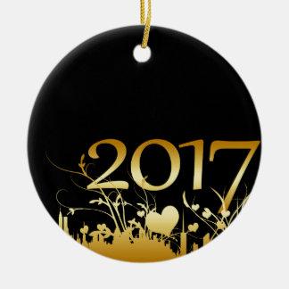 2017 New Year's Graphic Round Ceramic Ornament