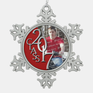 2017 Red and Silver Graduate Photo Snowflake Pewter Christmas Ornament