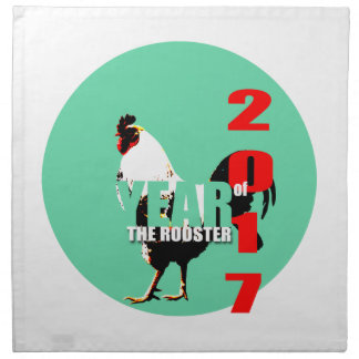 2017 Rooster Year in Green Circle C napkin